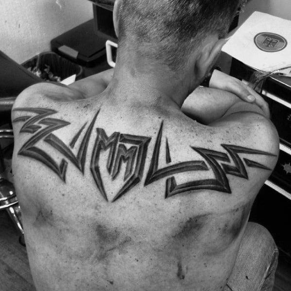 Upper Back 3d Tribal Male Tattoo Designs