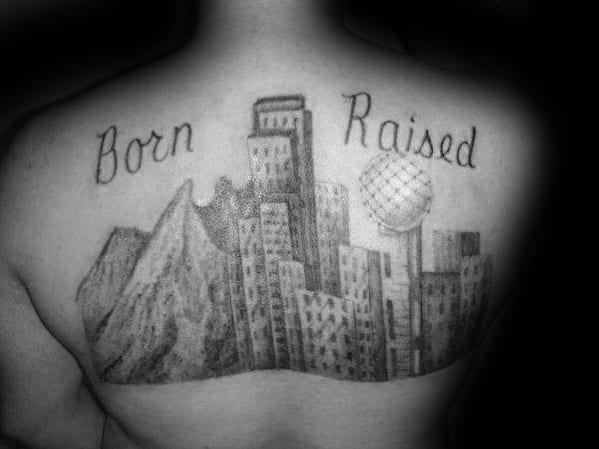Upper Back 3d Unique Mens Dallas Skyline Tattoos