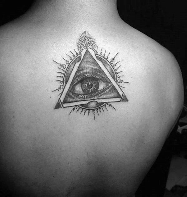 Upper Back All Seeing Eye With Sanskrit Male Tattoos