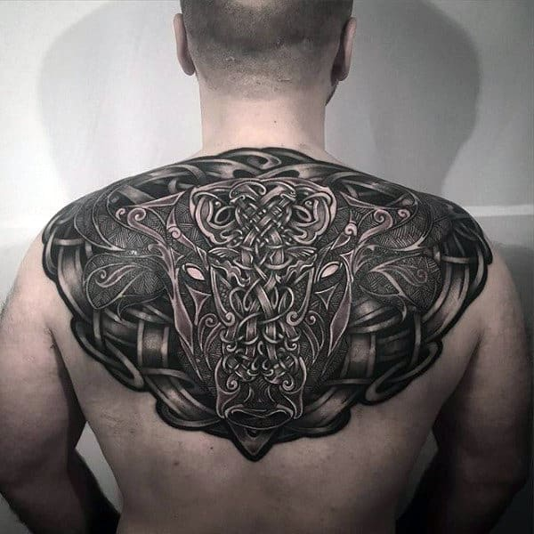 Upper Back Amazing Mens Bull Celtic Knot Tattoo Ideas