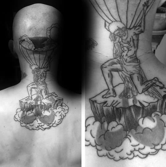 Upper Back And Neck Atlas Tattoo For Men