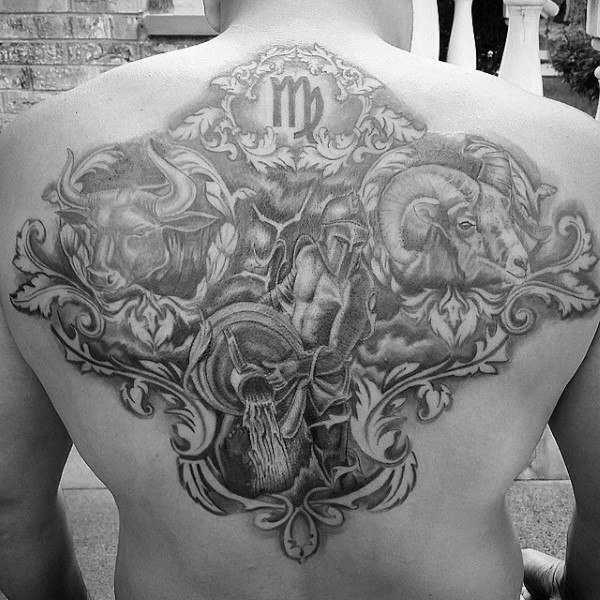 Upper Back Aquarius Themed Mens Tattoo Designs