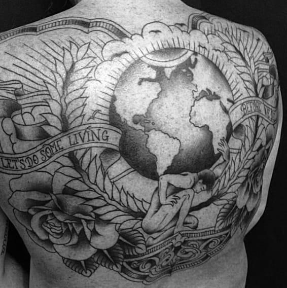 Upper Back Atlas Guys Globe Tattoo Design With Black Ink