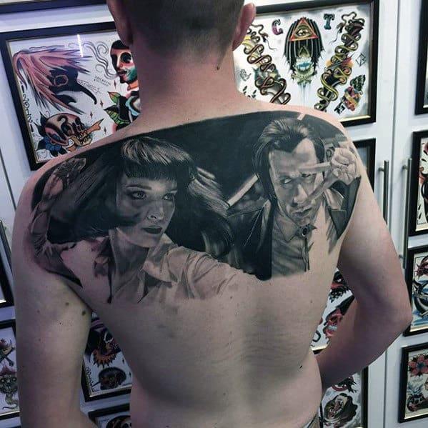 Upper Back Badass Mens Pulp Fiction Tattoo Designs