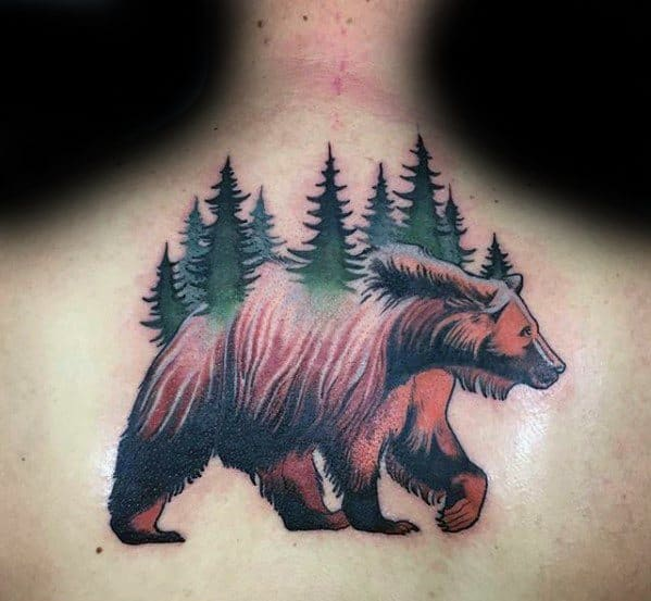 Upper Back Bear Trees Morph Tattoo Design On Man