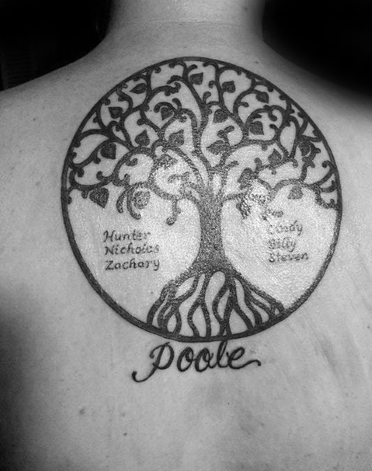 Upper Back Circle Mens Family Tree Tattoo Designs