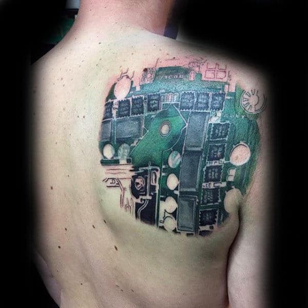 Upper Back Circuit Board Tattoo Ideas For Guys