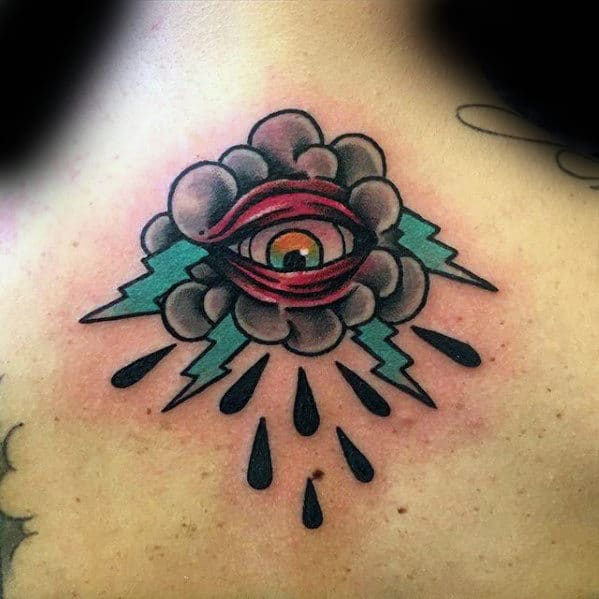 Upper Back Clouds With Eye And Thunder Mens Traditional Tattoos