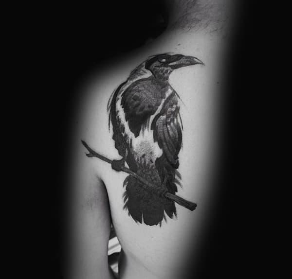 Upper Back Cool Mens Crow Tattoo Design Inspiration