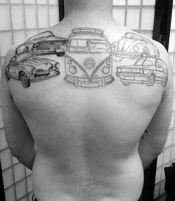 Upper Back Creative Volkswagen Wv Tattoos For Men