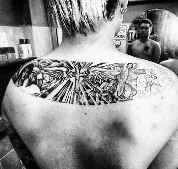 Upper Back Cross Catholic Mens Tattoo Designs