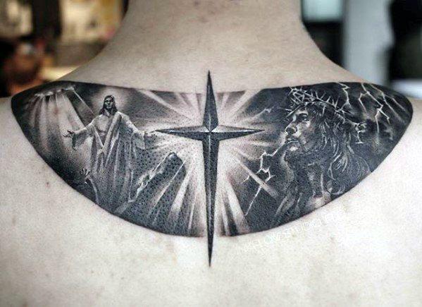 Upper Back Cross With 3d Jesus Tattoos Men