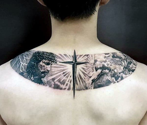 Upper Back Cross With Jesus Guys Religious Themed Tattoo Ideas