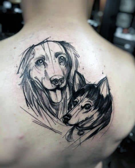 Upper Back Dogs Mens Sketch Tattoo Design Inspiration