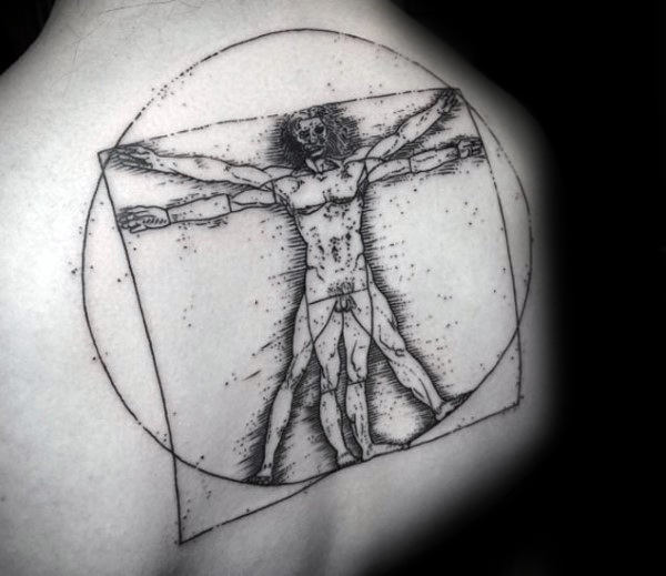 Upper Back Drawing Vitruvian Man Tattoo On Guy