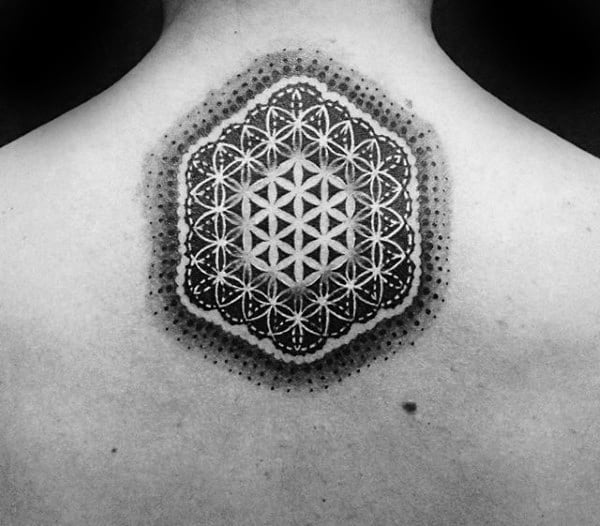 Upper Back Flower Of Life Tattoo For Males With Negative Space Design