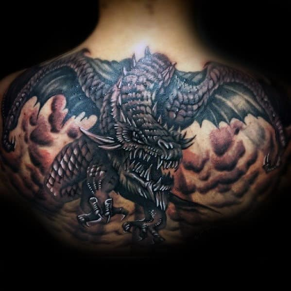 Upper Back Flying 3d Dragon Mens Tattoos