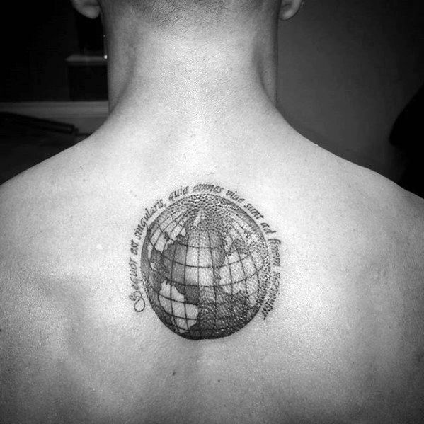 Upper Back Globe With Latin Tattoo Designs For Guys
