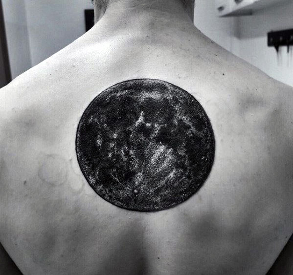 Upper Back Guys Black And Grey Ink Realistic Moon Tattoo