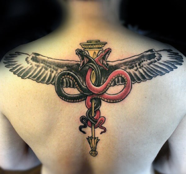 Upper Back Guys Black And Red Snakes Caduceus Tattoo