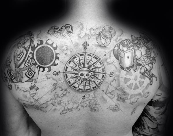 Upper Back Guys One Piece Tattoos Ideas