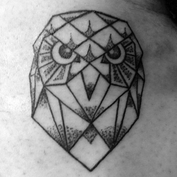 Upper Back Guys Small Geometric Owl Head Tattoo Designs