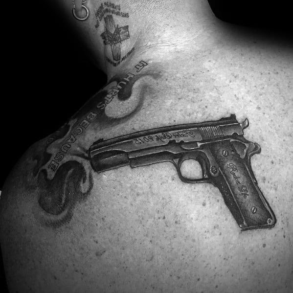 Upper Back Handgun 1911 Tattoos For Gentlemen