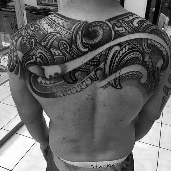 Upper Back Hawaiian Awesome Tribal Guys Tattoo Ideas