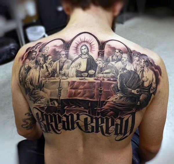 Upper Back Last Supper Tattoos For Men