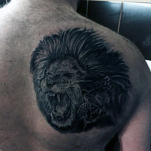 Upper Back Lion Head Tattoo Designs For Men