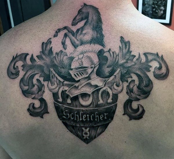 Upper Back Male Family Crest Tattoo Schleicher
