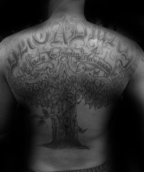 Upper Back Male Family Tree Tattoo Design Inspiration