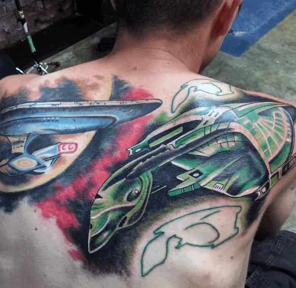 Upper Back Mens Cool Star Trek Tattoo Ideas