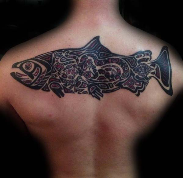 Upper Back Mens Haida Tribal Fish Tattoos