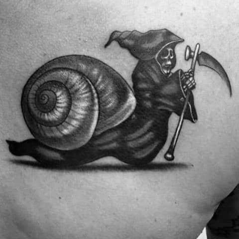 Upper Back Mens Tattoo With Grim Reaper Snail Design