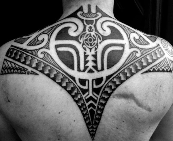 Upper Back Mens Tribal Tattoo Polynesian