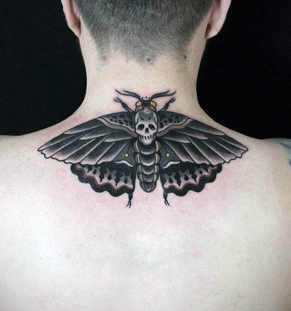 Upper Back Moth Mens Old School Tattoo Designs