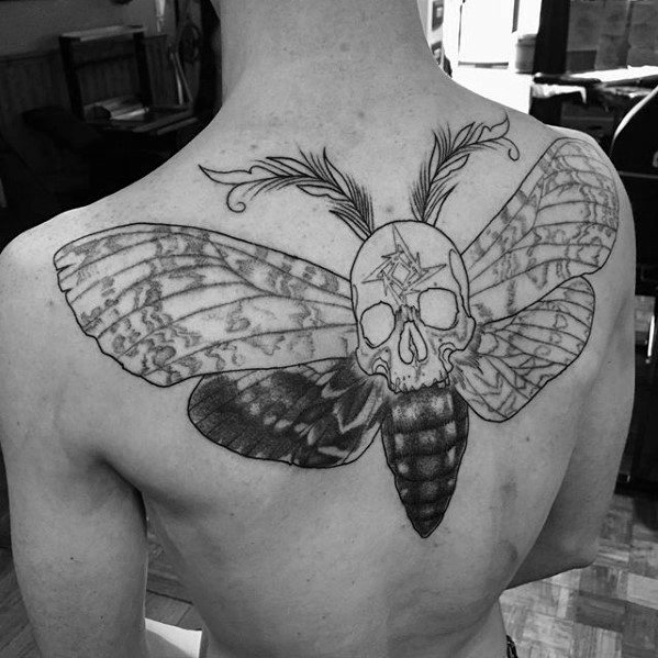 Upper Back Moth Metallica Tattoo Ideas On Guys