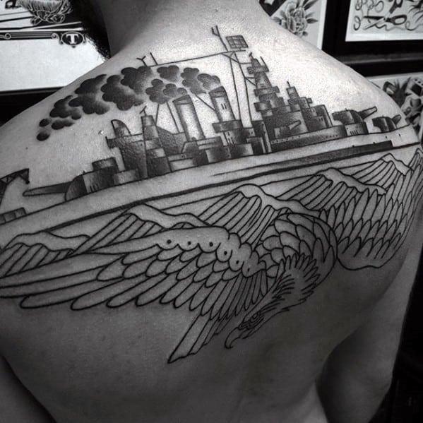 Upper Back Old School Eagle Battleship Guys Tattoos