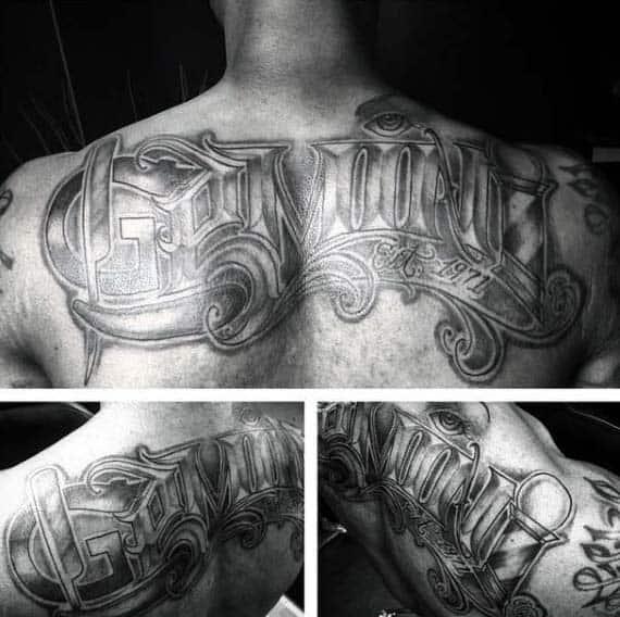 Upper Back Ornate Gemini Mens Lettering Tattoo Ideas