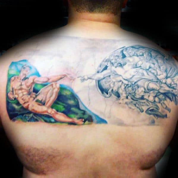 Upper Back Painting Mens Cool The Creation Of Adam Tattoo Ideas