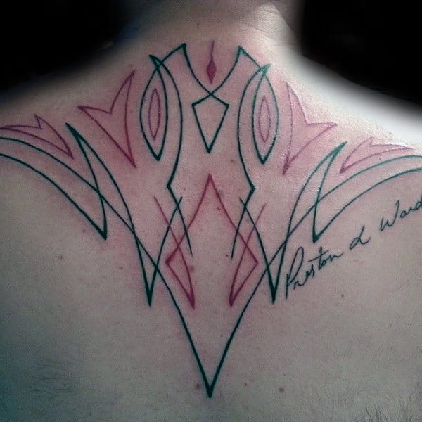 Upper Back Pinstripe Mens Black And Red Ink Tattoo Inspiration