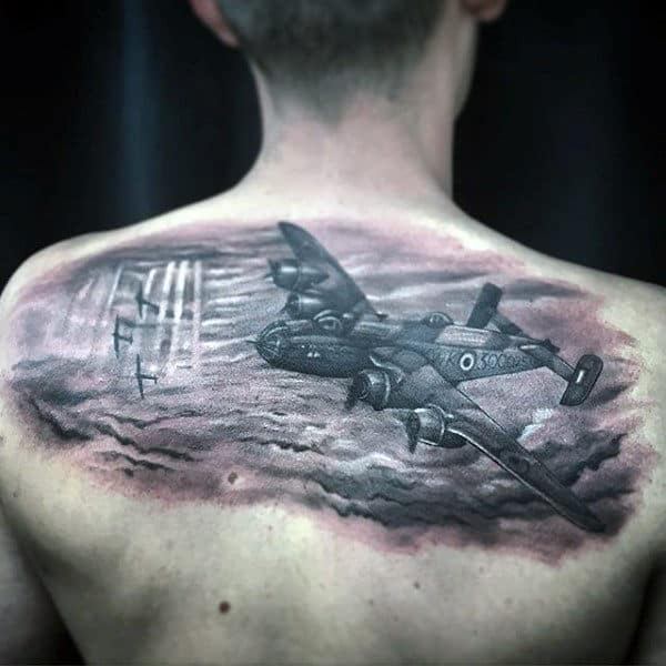 Upper Back Realistic Flying Airplane Mens Air Force Tattoos