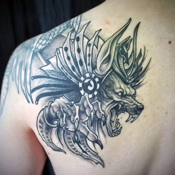 Upper Back Shoulder Guys Anubis Tattoos