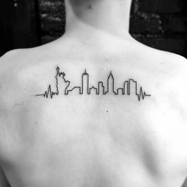 Upper Back Small New York Skyline Tattoo Designs For Guys