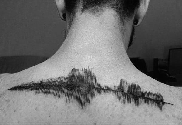Upper Back Soundwave Tattoos For Guys