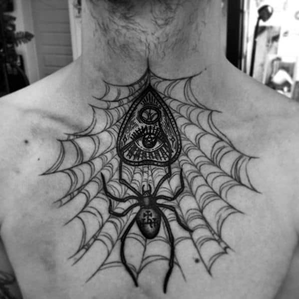Upper Back Spider Web Planchette Mens Tattoo Designs