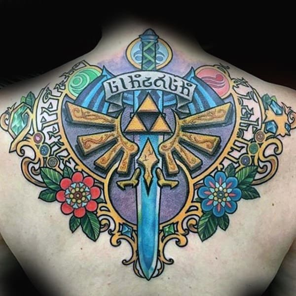 Upper Back Sword With Triforce Symbol Mens Zelda Tattoo Designs