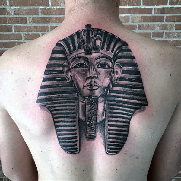 Upper Back Tattoo Of King Tut On Male