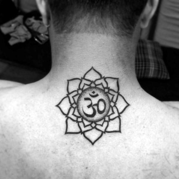 Upper Back Tattoo On Guy With Flower Om Tattoo